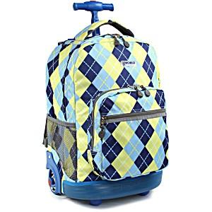 Универсальный школьный рюкзак на колесах JWORLD Sunrise арт. RBS18 Argyle Navy