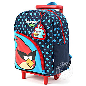 Рюкзак на колесах с выдвижной ручкой для дошкольника Angry Birds арт. 10052