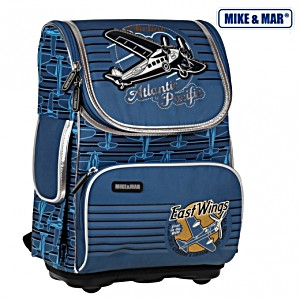 Школьный рюкзак облегченный Mike&Mar Майк Мар Аэроплан арт. 1075-MM-35 + пенал