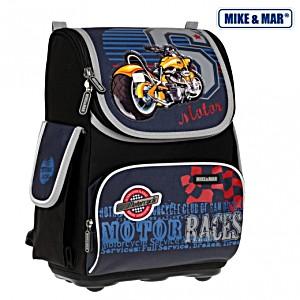 Школьный рюкзак облегченный Mike&Mar Майк Мар Мото арт. 1075-MM-38 + пенал