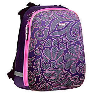 Рюкзак школьный Mike&Mar Майк Мар Цветы фиолетовый 1008-21 + мешок для обуви