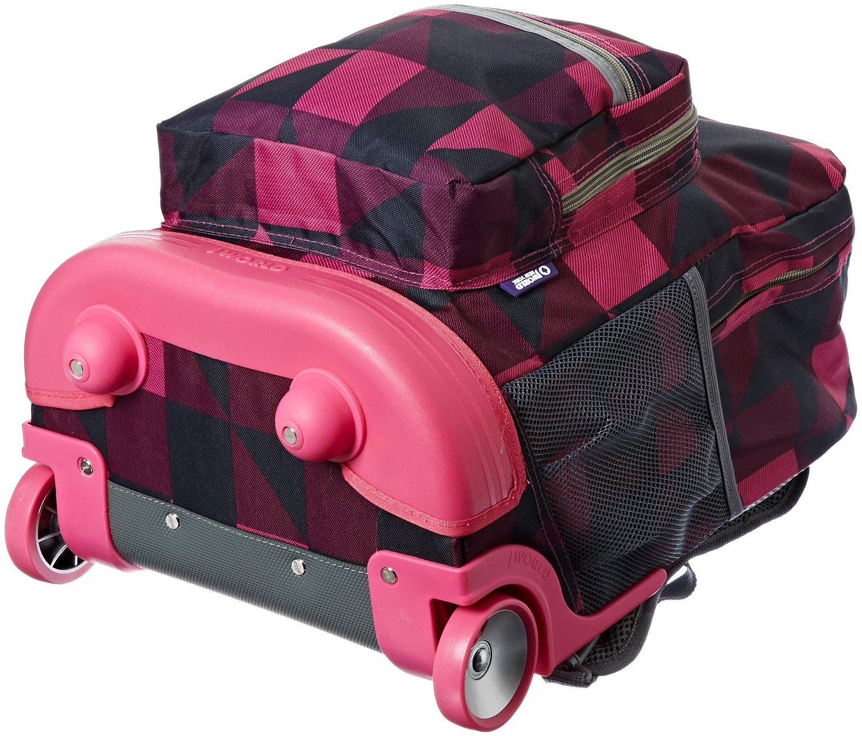 Универсальный школьный рюкзак на колесах JWORLD Sunrise Малиновые Квадраты, - фото 8