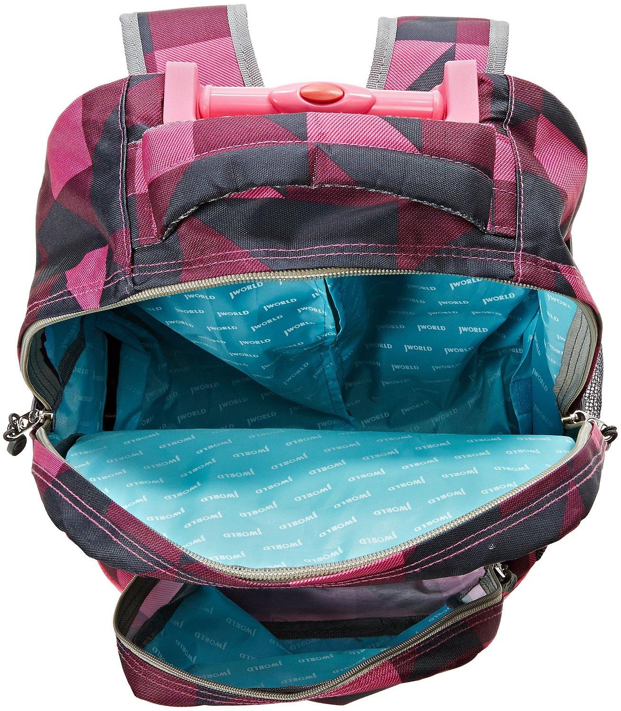 Универсальный школьный рюкзак на колесах JWORLD Sunrise Малиновые Квадраты, - фото 6