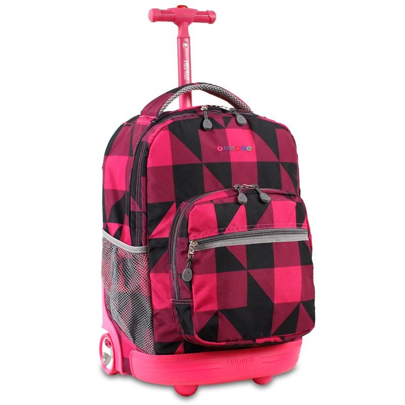 Универсальный школьный рюкзак на колесах JWORLD Sunrise Малиновые Квадраты, - фото 1