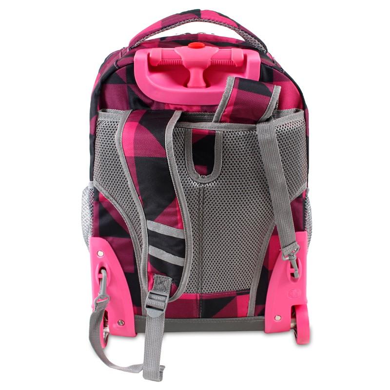 Универсальный школьный рюкзак на колесах JWORLD Sunrise Малиновые Квадраты, - фото 3
