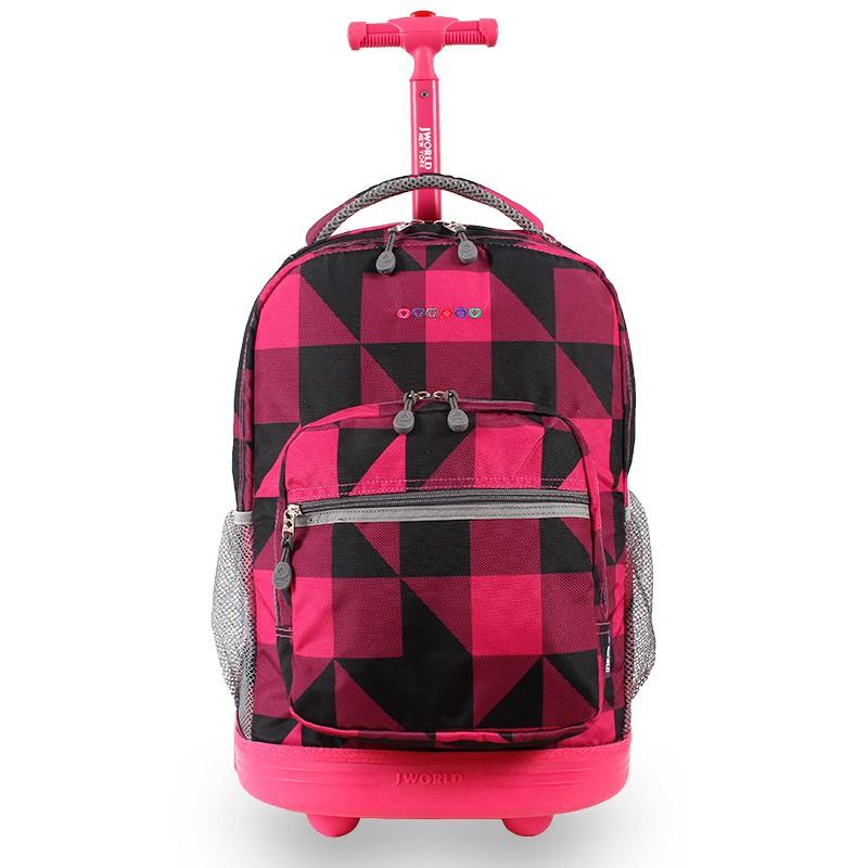 Универсальный школьный рюкзак на колесах JWORLD Sunrise Малиновые Квадраты, - фото 2