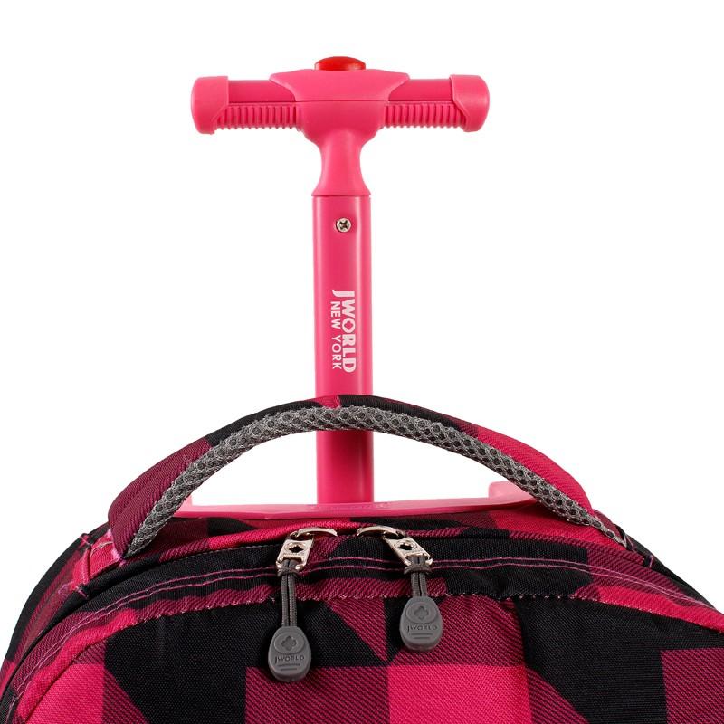 Универсальный школьный рюкзак на колесах JWORLD Sunrise Малиновые Квадраты, - фото 7