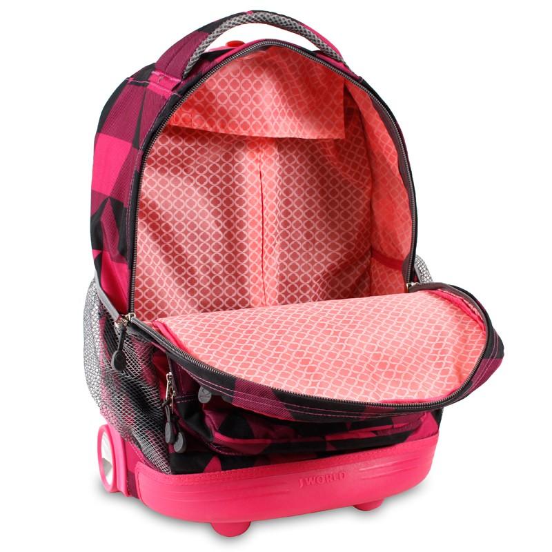 Универсальный школьный рюкзак на колесах JWORLD Sunrise Малиновые Квадраты, - фото 4