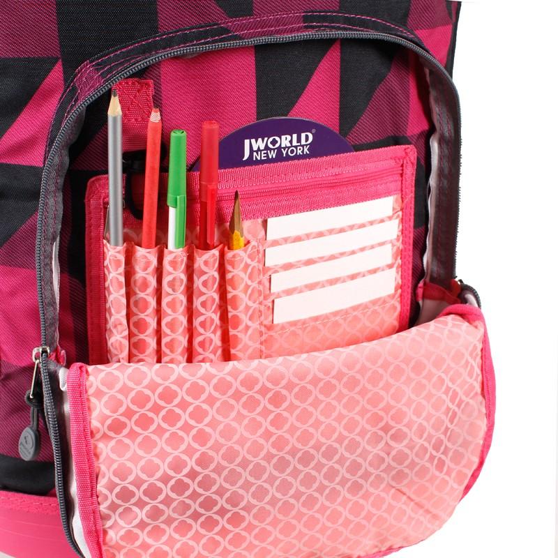 Универсальный школьный рюкзак на колесах JWORLD Sunrise Малиновые Квадраты, - фото 5