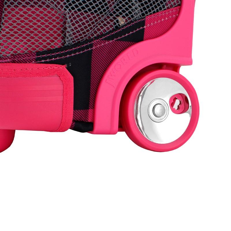 Универсальный школьный рюкзак на колесах JWORLD Sunrise Малиновые Квадраты, - фото 9