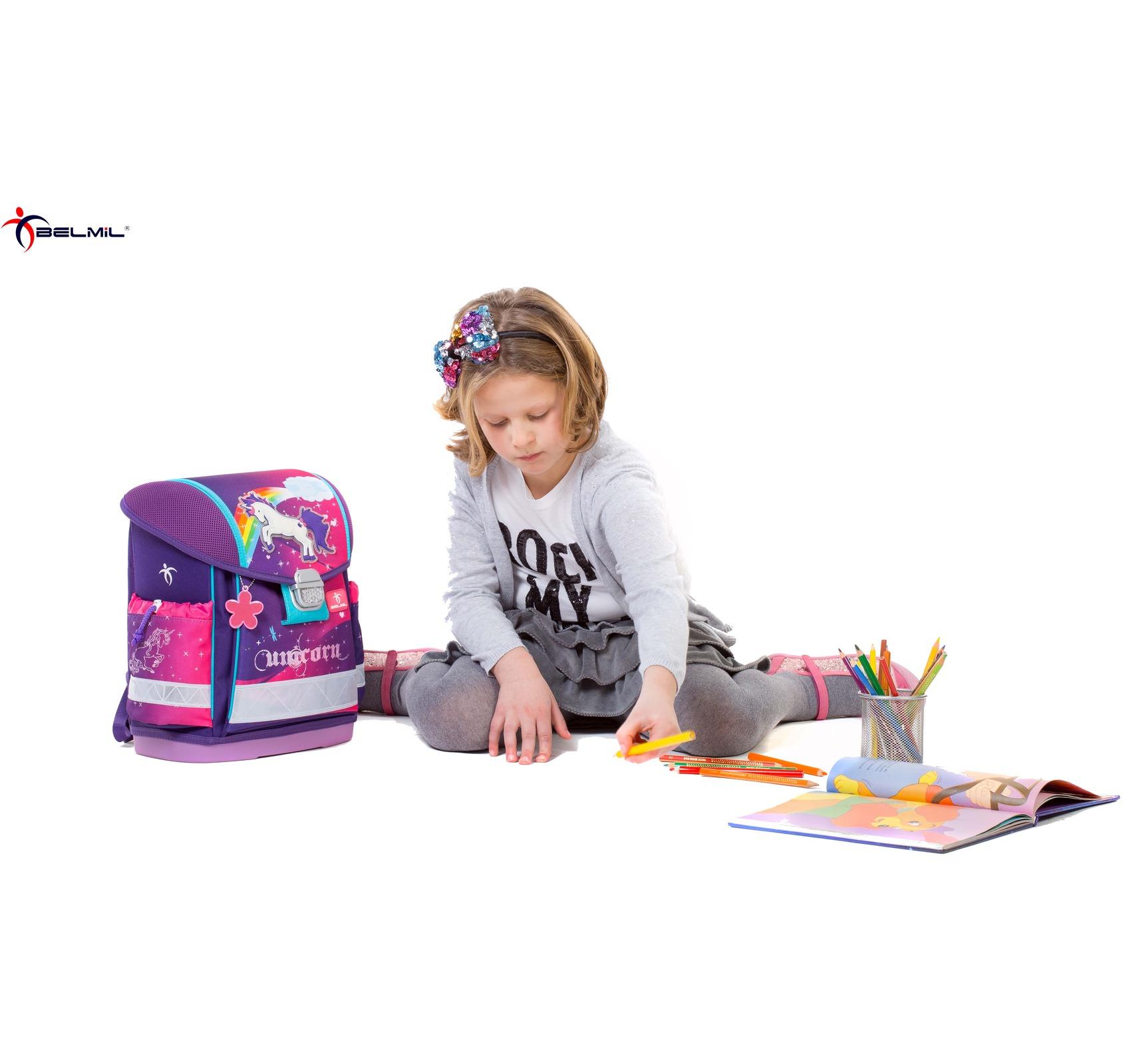 Школьный ранец Belmil 403 13 Magical - Фиолетовый единорог, - фото 10