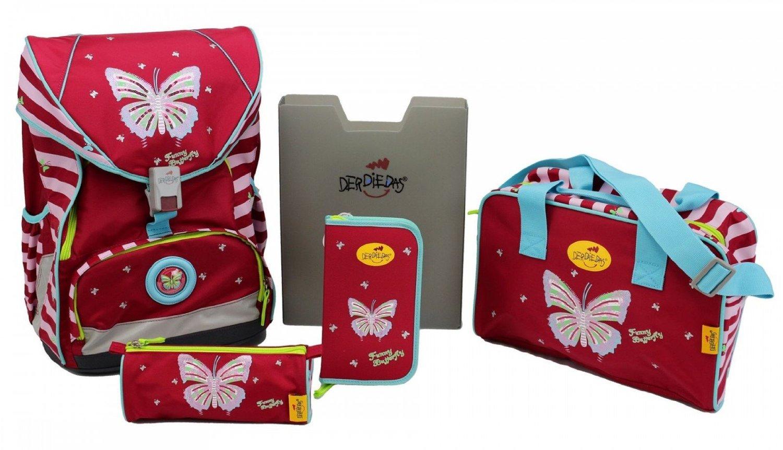 Школьный ранец DerDieDas ErgoFlex XL с наполнением Крылья Бабочки + нагрудный ремень, - фото 1