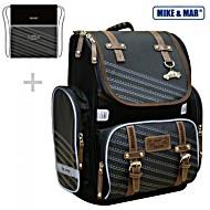 Школьный рюкзак Mike&Mar Майк Мар Скорость (т.сер/корич) 1074-ММ-125 + мешок для обуви