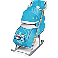 Санки коляска синие рисунок Совушки