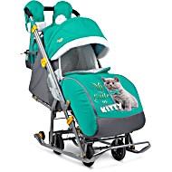 Санки коляска с колесами Ника рисунок KITTY