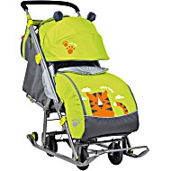 Санки коляска Ника детям 7 колесом рисунок Тигр
