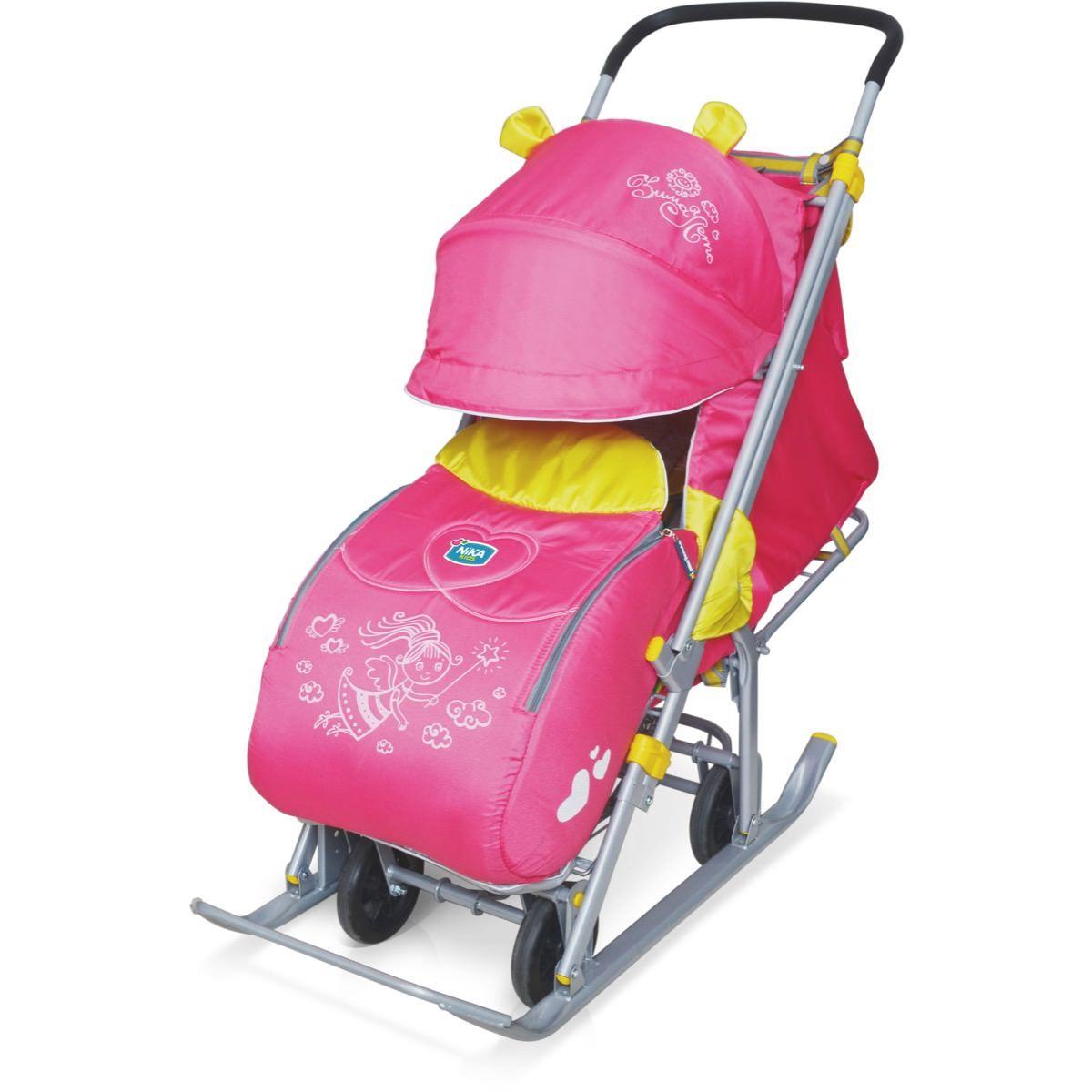 Санки коляска с 4 колесами рисунок Фея, - фото 1