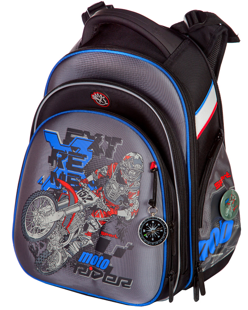 Школьный ранец Hummingbird Т75 (рюкзак) сайт T75 экстрим мото серый + пенал, - фото 1