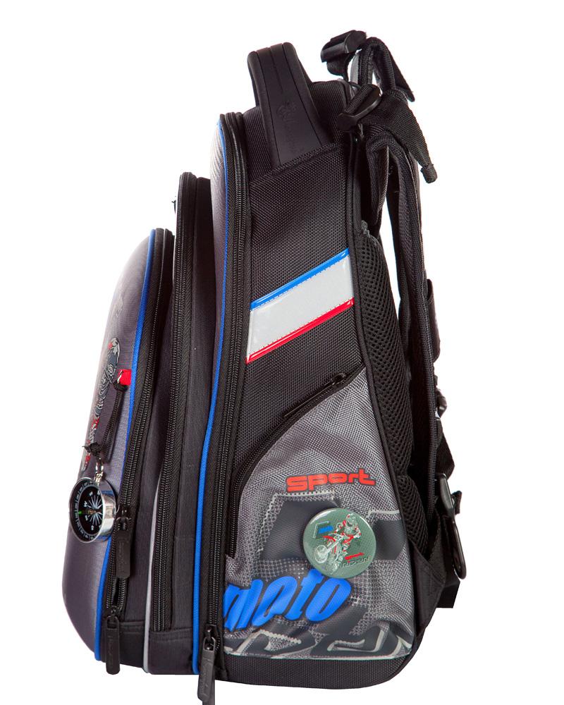 Школьный ранец Hummingbird Т75 (рюкзак) сайт T75 экстрим мото серый + пенал, - фото 2