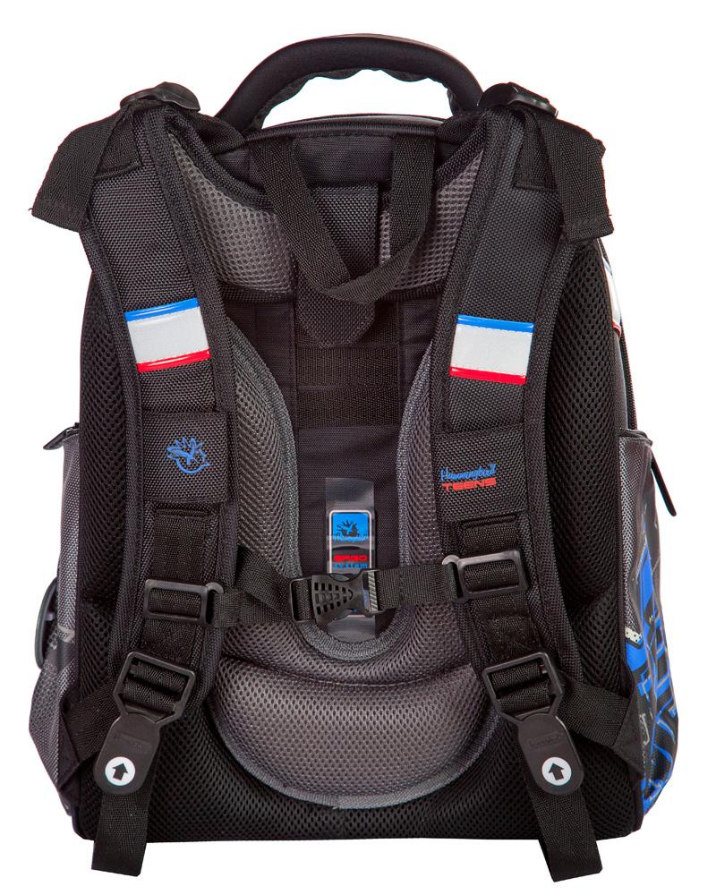 Школьный ранец Hummingbird Т75 (рюкзак) сайт T75 экстрим мото серый + пенал, - фото 3