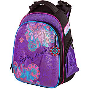Школьный ранец Hummingbird T80 фиолетовый с розовым цветком + пенал