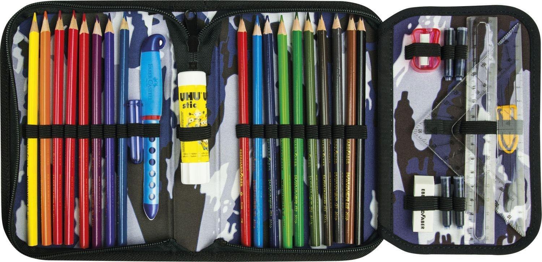 Пенал школьный Комуфляж с наполнением 32 предмета цвет синий, - фото 2