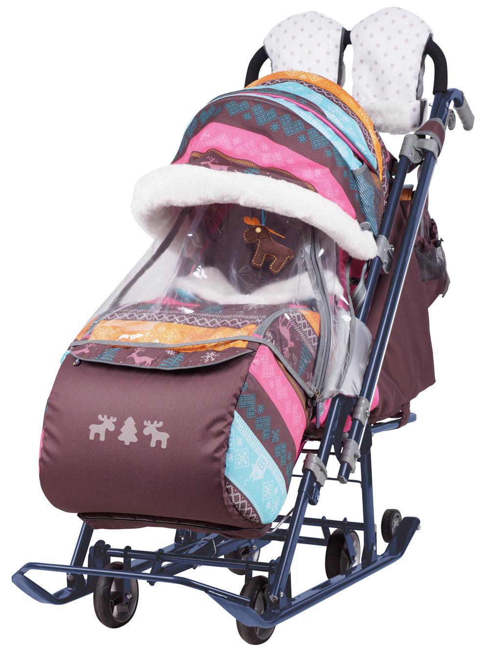 Санки коляска Ника Детям 7 3 в джинсовом стиле Скандинавский розовый, - фото 1