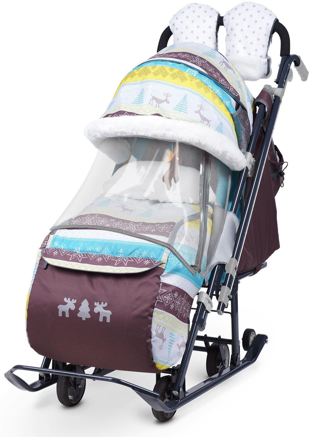 Санки коляска Ника Детям 7 3 в джинсовом стиле Скандинавский бирюзовый, - фото 1