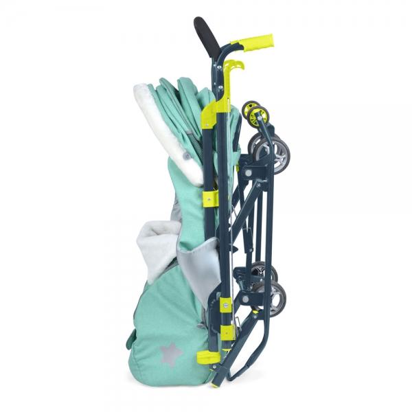 Санки коляска Ника Детям 7 3 в джинсовом цвете кораловый, - фото 6