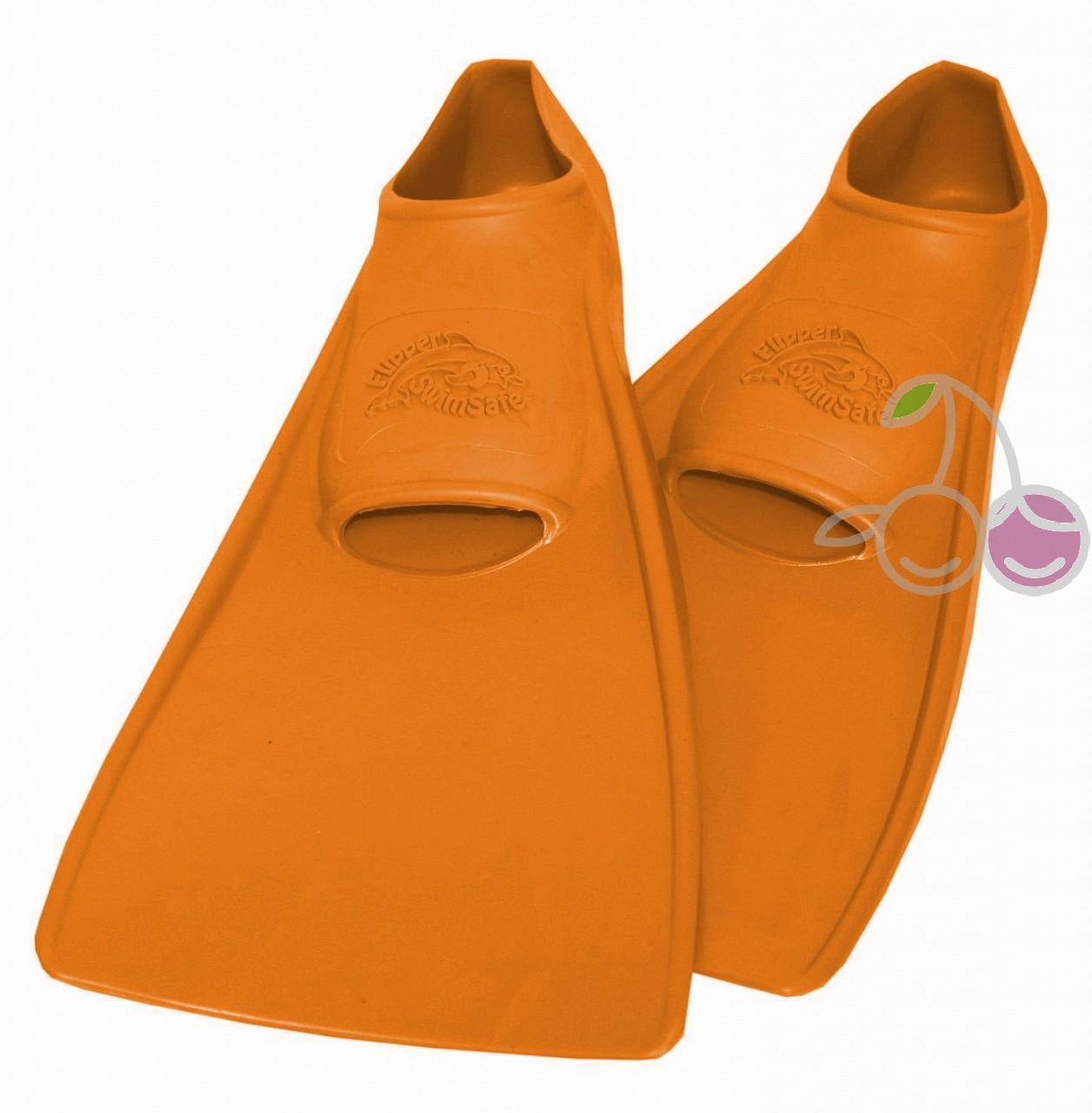 Ласты для бассейна резиновые детские размеры 22-24 оранжевые СВИМСЕЙФ (SwimSafe) Германия, - фото 1