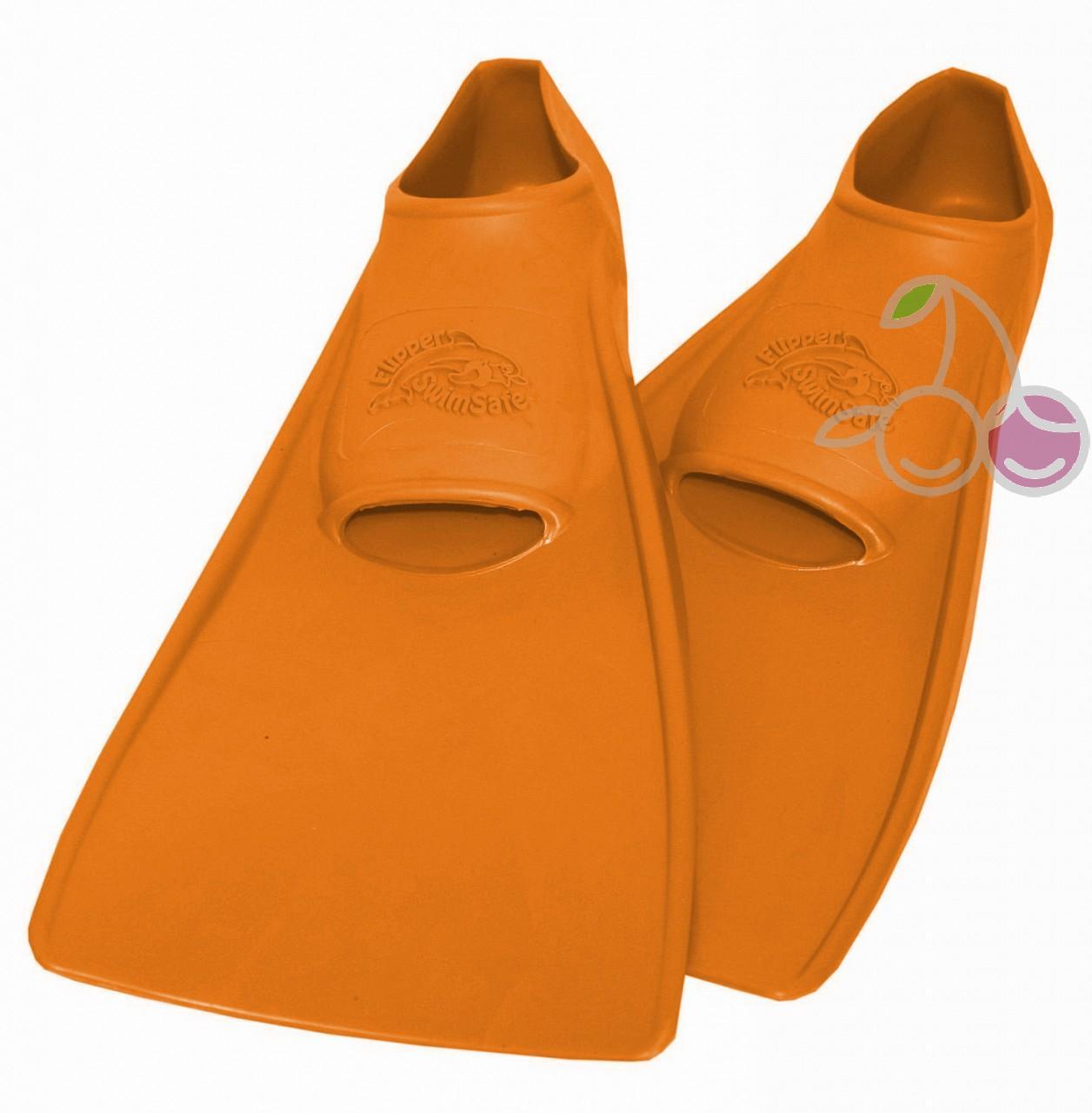 Ласты для бассейна резиновые детские размеры 24-26 оранжевые СВИМСЕЙФ (SwimSafe) Германия, - фото 1