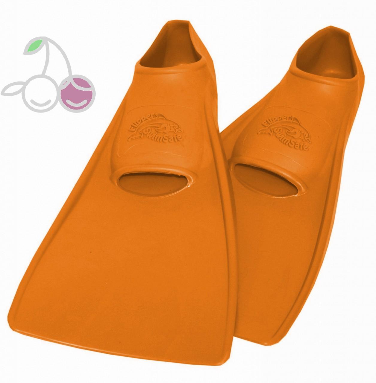 Ласты для бассейна резиновые детские размеры 26-28 оранжевые СВИМСЕЙФ (SwimSafe) Германия, - фото 1
