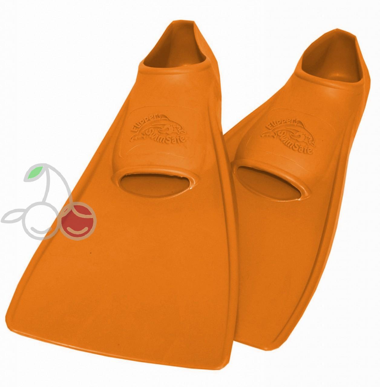 Ласты для бассейна резиновые детские размеры 28-30 оранжевые СВИМСЕЙФ (SwimSafe) Германия, - фото 1
