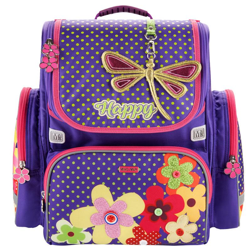 Ранец Mike Mar Стрекоза и Цветы 1074-ММ-151 + мешок для обуви + пенал в подарок, - фото 1