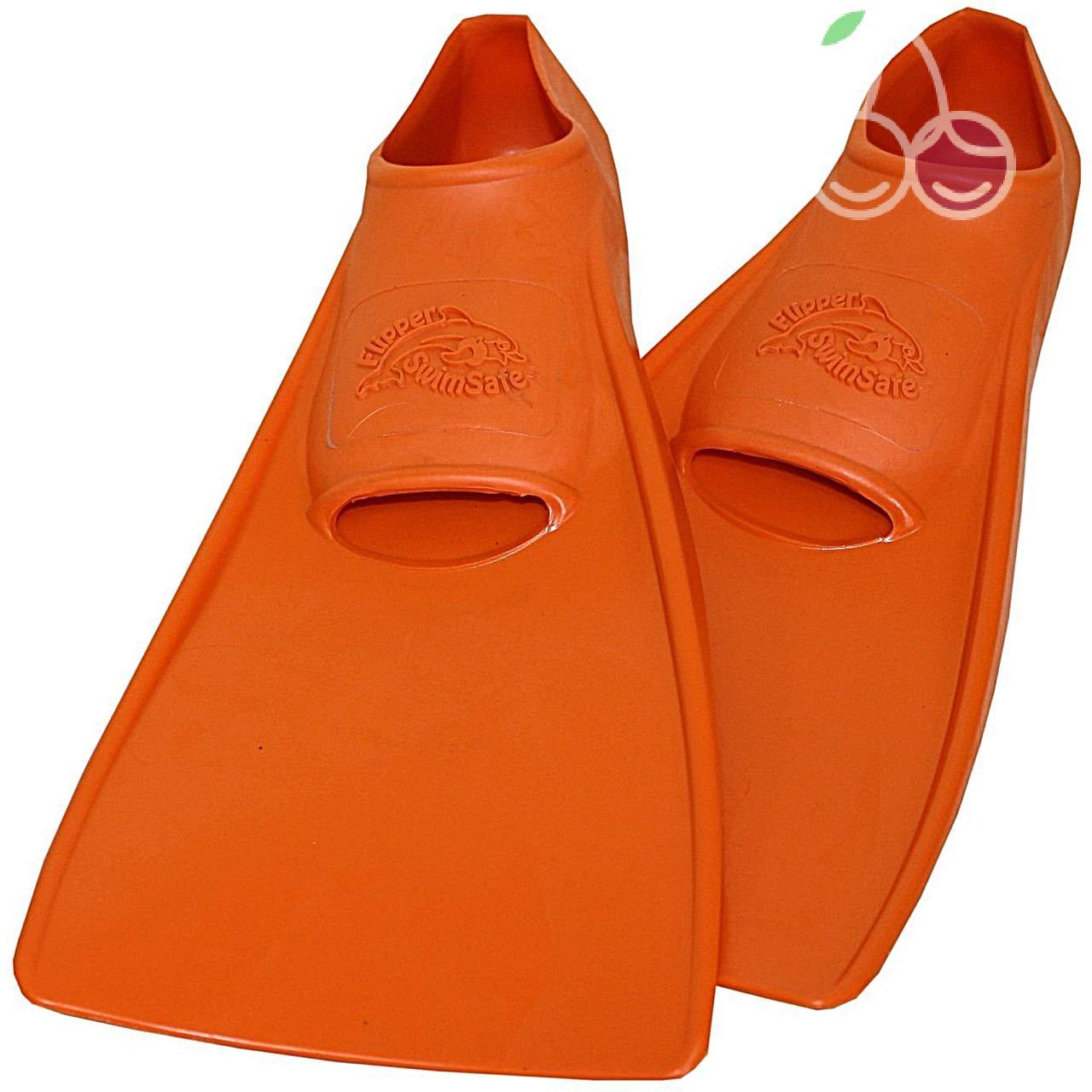 Ласты детские эластичные маленький размер 24 оранжевые закрытая пятка SwimSafe (Свимсейф) Германия, - фото 1