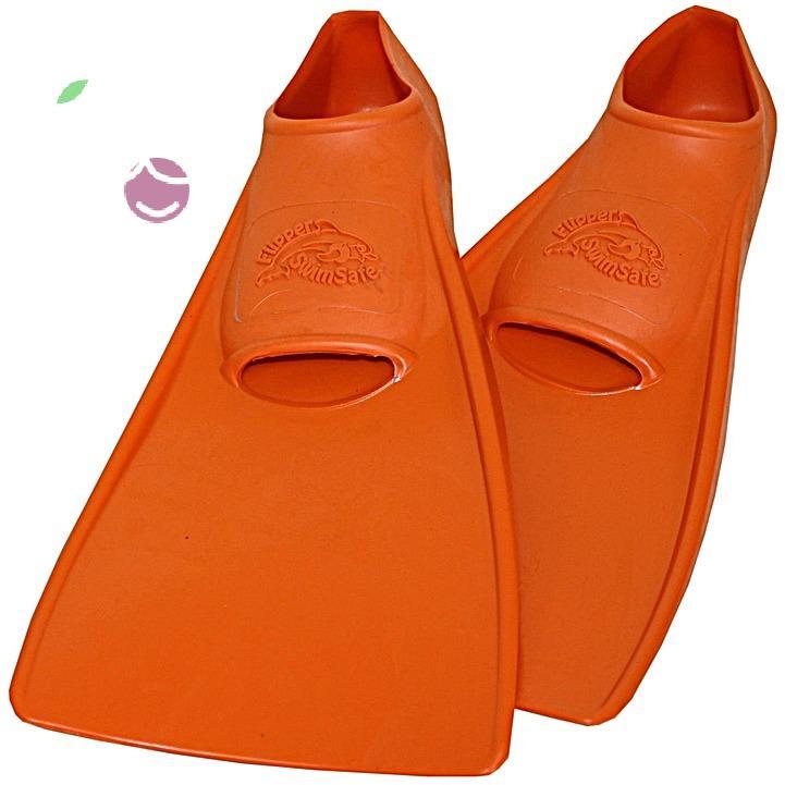 Ласты детские эластичные маленький размер 26 оранжевые закрытая пятка SwimSafe (Свимсейф) Германия, - фото 1