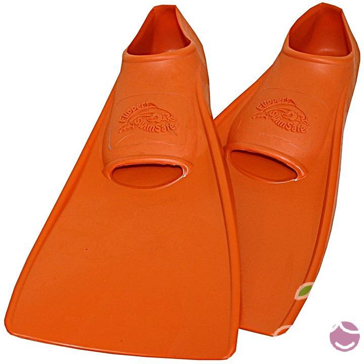 Ласты детские эластичные маленький размер 28-30 оранжевые закрытая пятка SwimSafe (Свимсейф) Германия, - фото 1