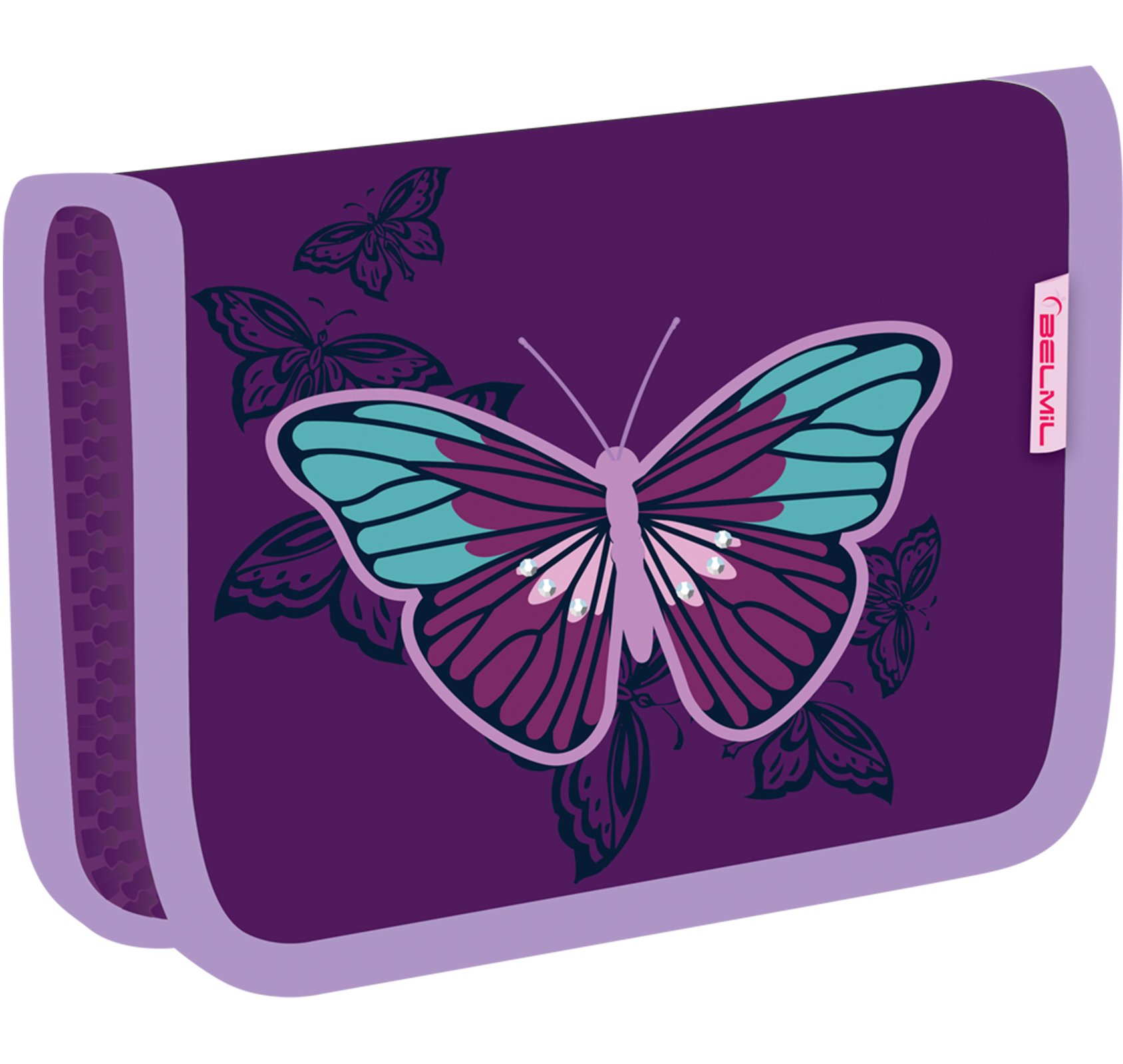 Школьный пенал для девочки Belmil с бабочкой 335 72 Butterfly, - фото 1