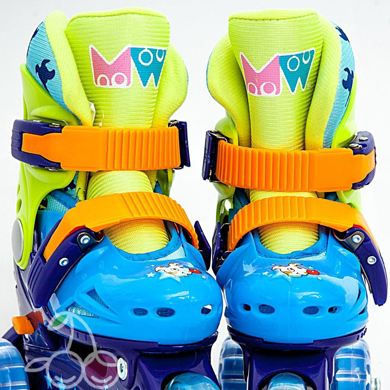 Роликовые коньки детские 26 размер, для обучения (трехколесные, раздвижной ботинок) MagicWheels зеленые, - фото 1