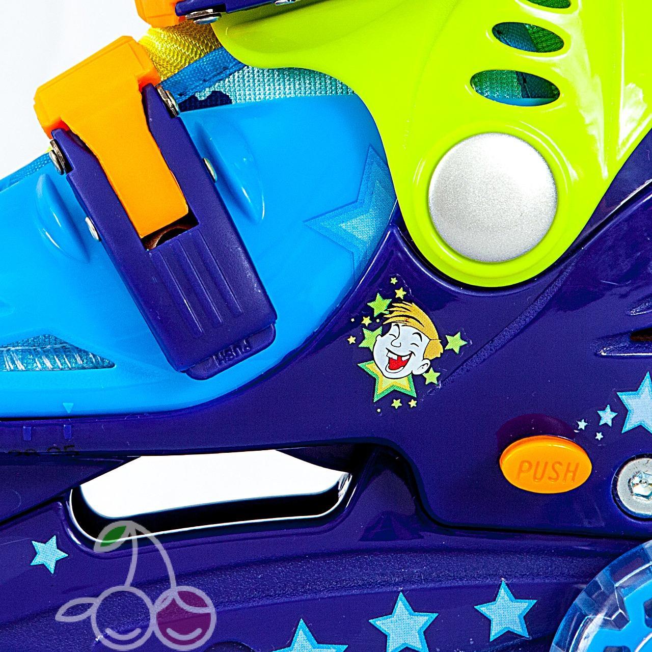 Роликовые коньки детские 26 размер, для обучения (трехколесные, раздвижной ботинок) MagicWheels зеленые, - фото 2