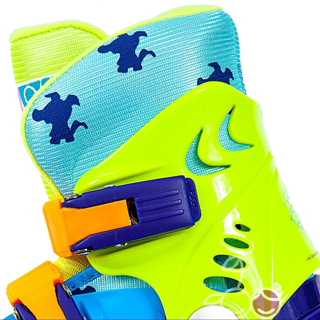 Роликовые коньки детские 26 размер, для обучения (трехколесные, раздвижной ботинок) MagicWheels зеленые, - фото 3