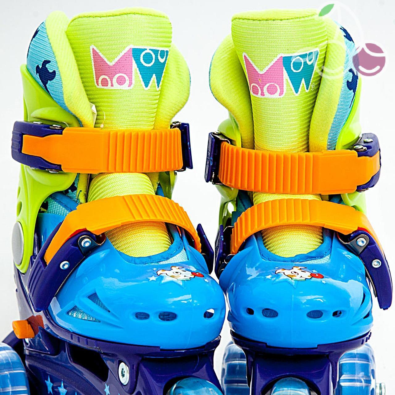Роликовые коньки детские 27 размер, для обучения (трехколесные, раздвижной ботинок) MagicWheels зеленые, - фото 1