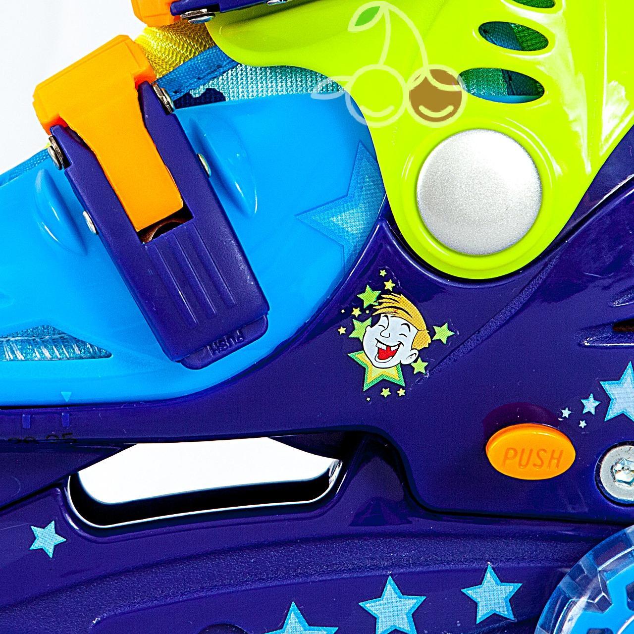 Роликовые коньки детские 27 размер, для обучения (трехколесные, раздвижной ботинок) MagicWheels зеленые, - фото 2