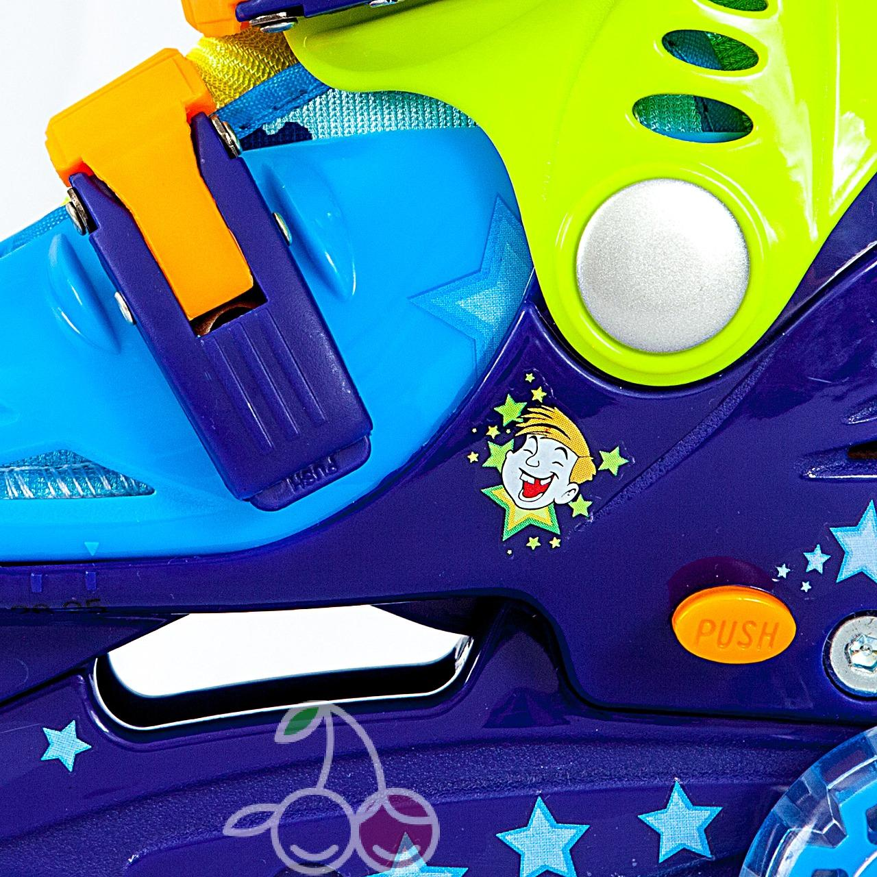 Роликовые коньки детские 28 размер, для обучения (трехколесные, раздвижной ботинок) MagicWheels зеленые, - фото 2