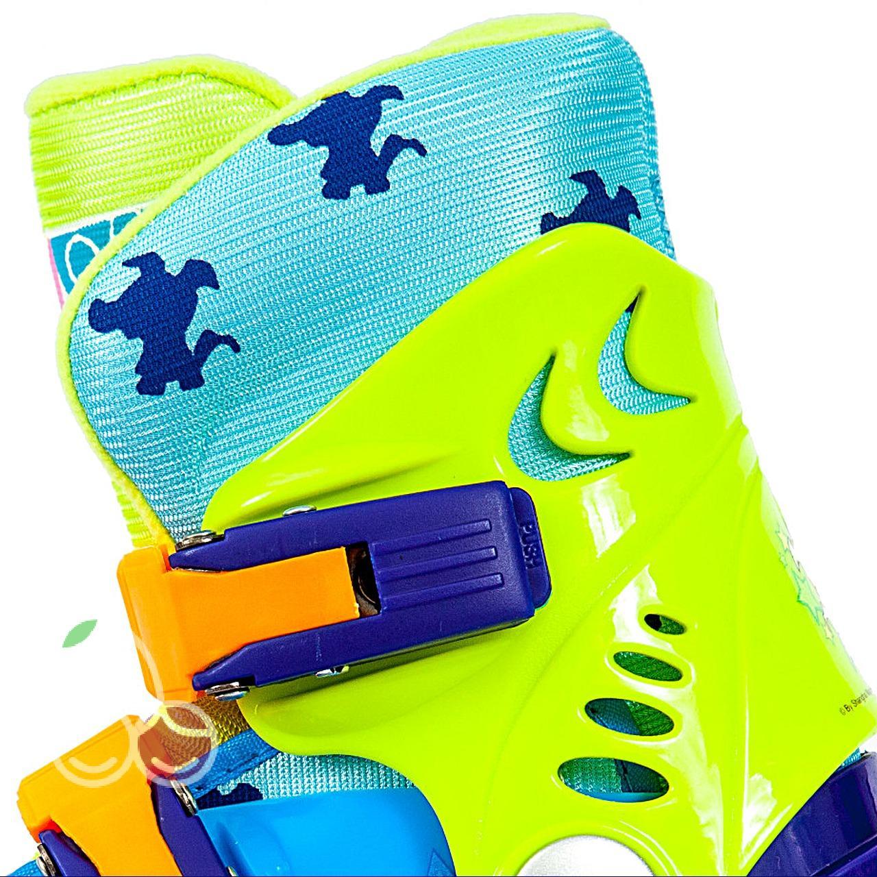 Роликовые коньки детские 28 размер, для обучения (трехколесные, раздвижной ботинок) MagicWheels зеленые, - фото 3
