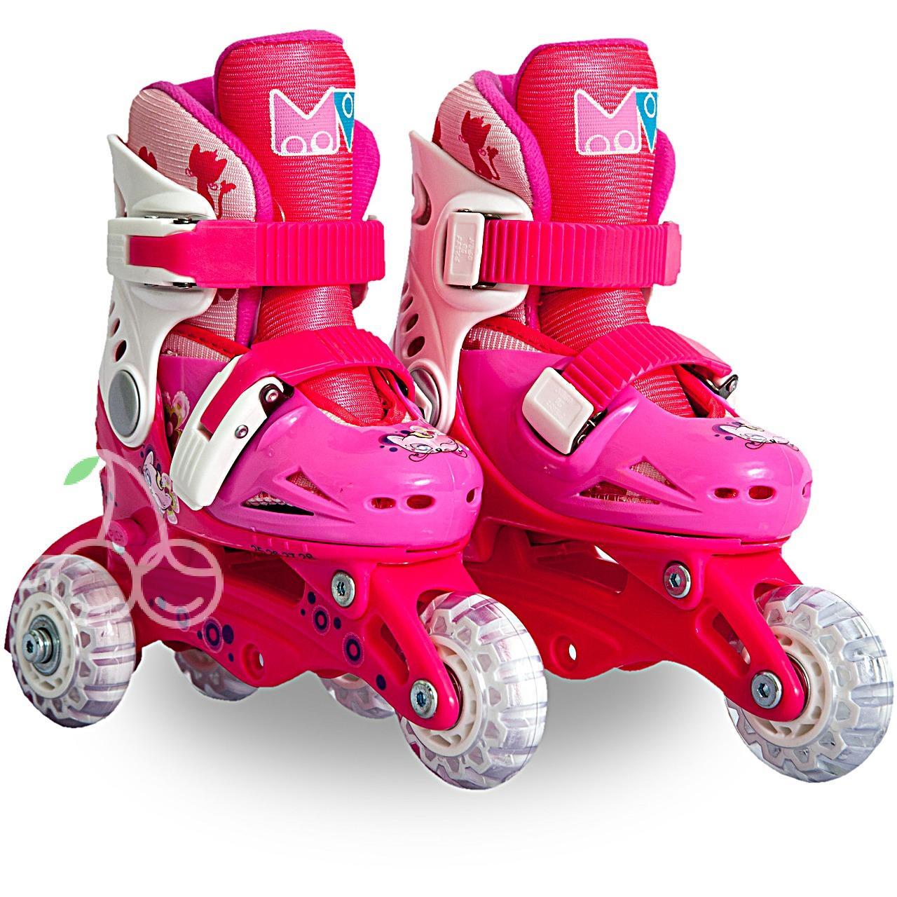 Роликовые коньки детские 26 размер, для обучения (трансформеры, раздвижной ботинок) MagicWheels розовые, - фото 1