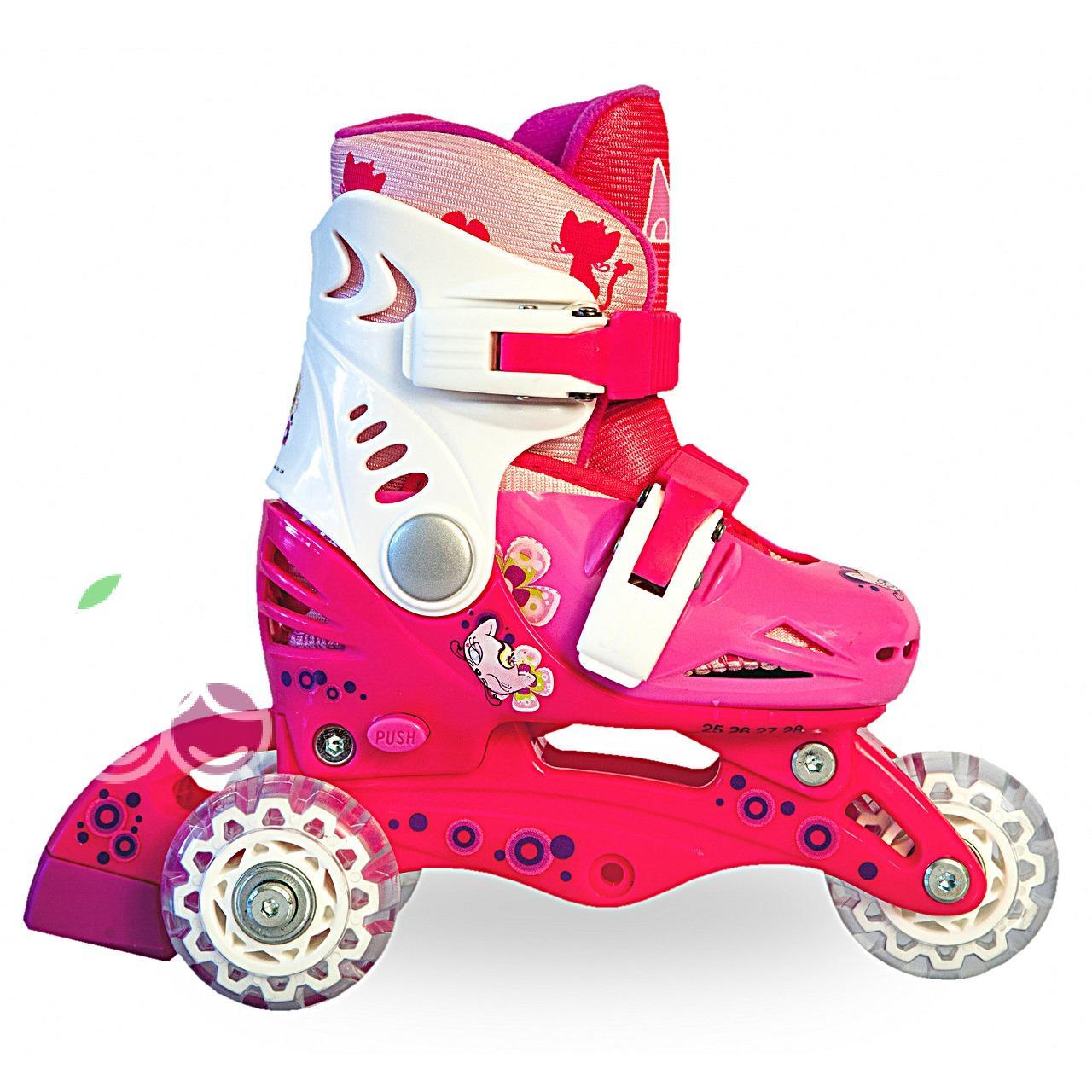 Роликовые коньки детские 26 размер, для обучения (трансформеры, раздвижной ботинок) MagicWheels розовые, - фото 2