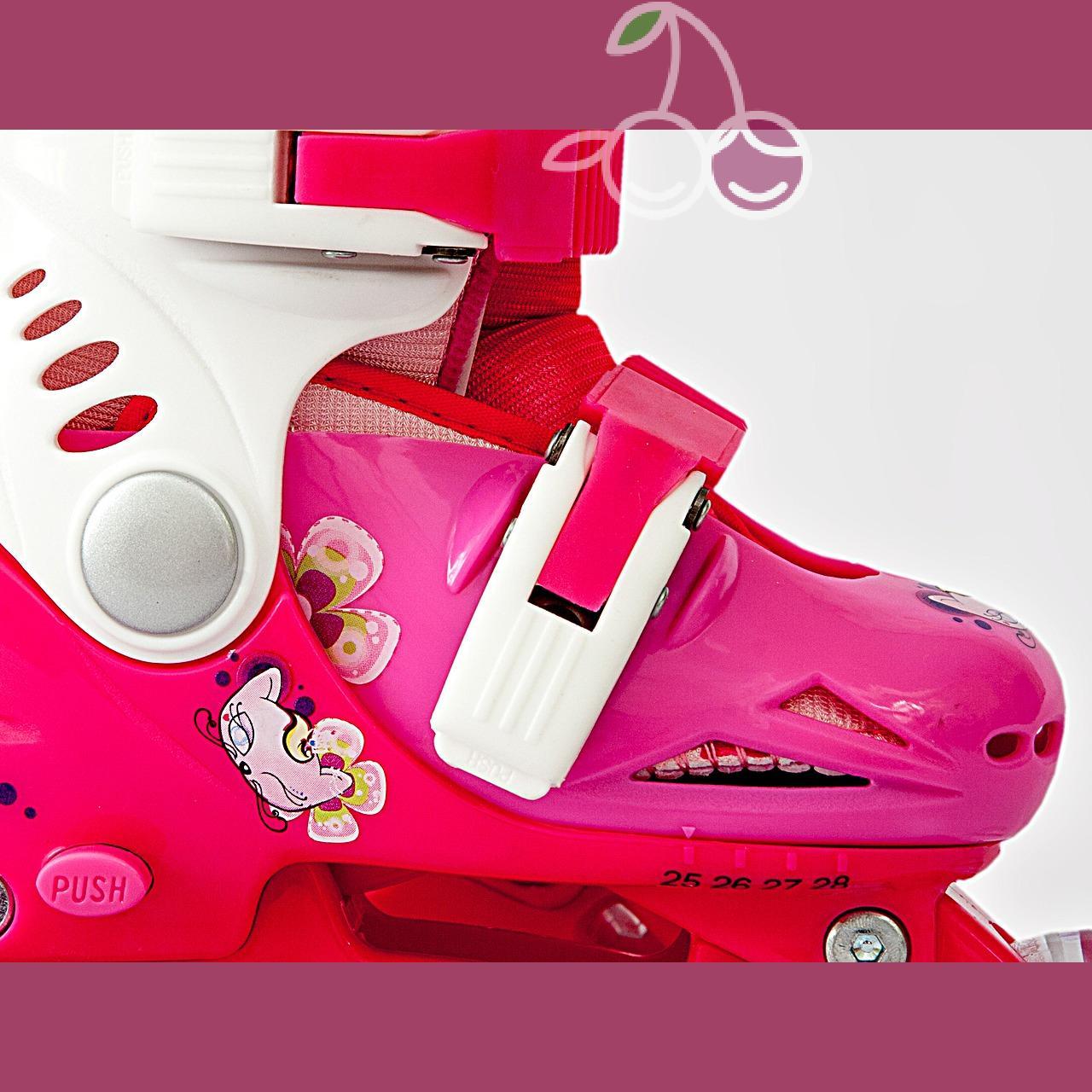 Роликовые коньки детские 26 размер, для обучения (трансформеры, раздвижной ботинок) MagicWheels розовые, - фото 3