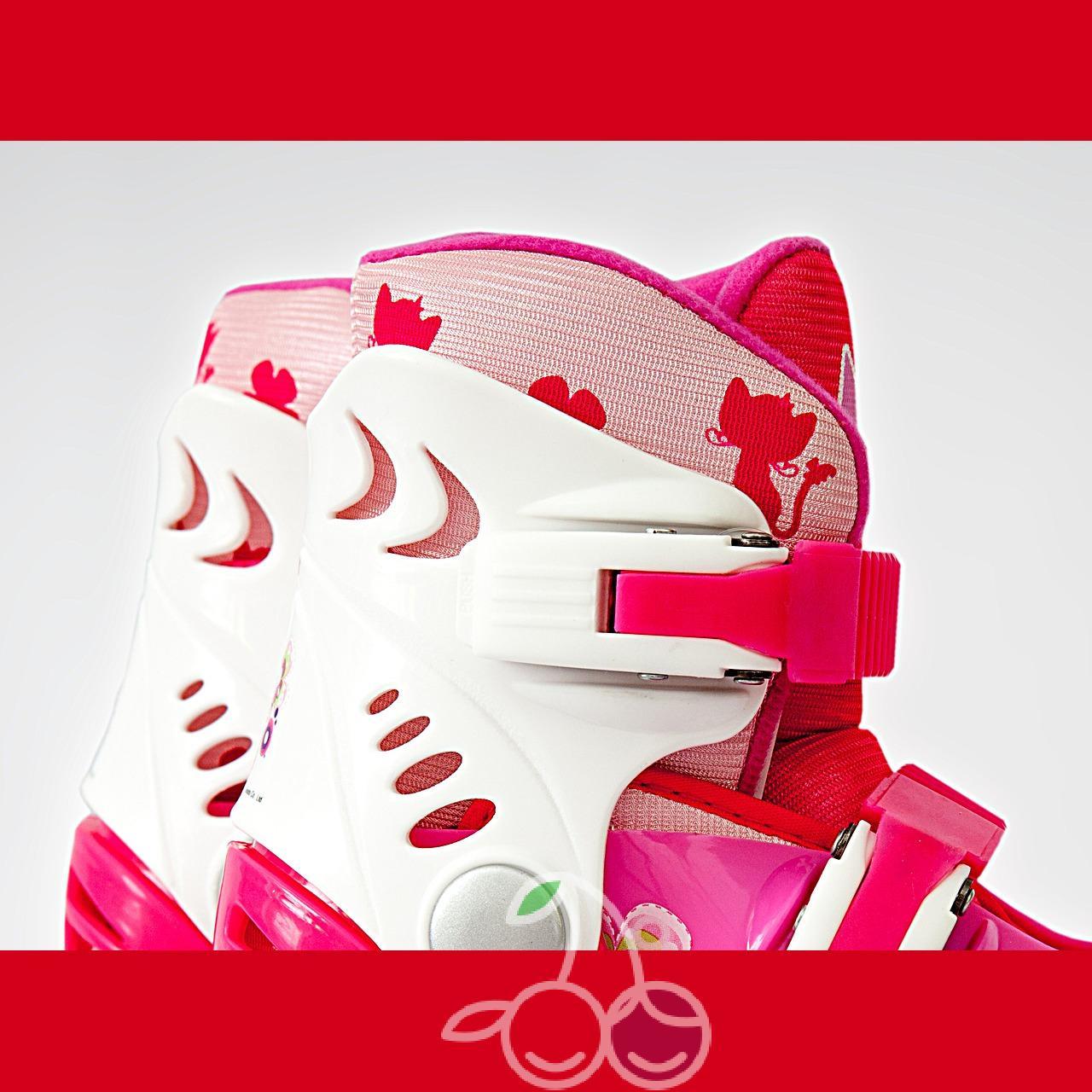 Роликовые коньки детские 26 размер, для обучения (трансформеры, раздвижной ботинок) MagicWheels розовые, - фото 5