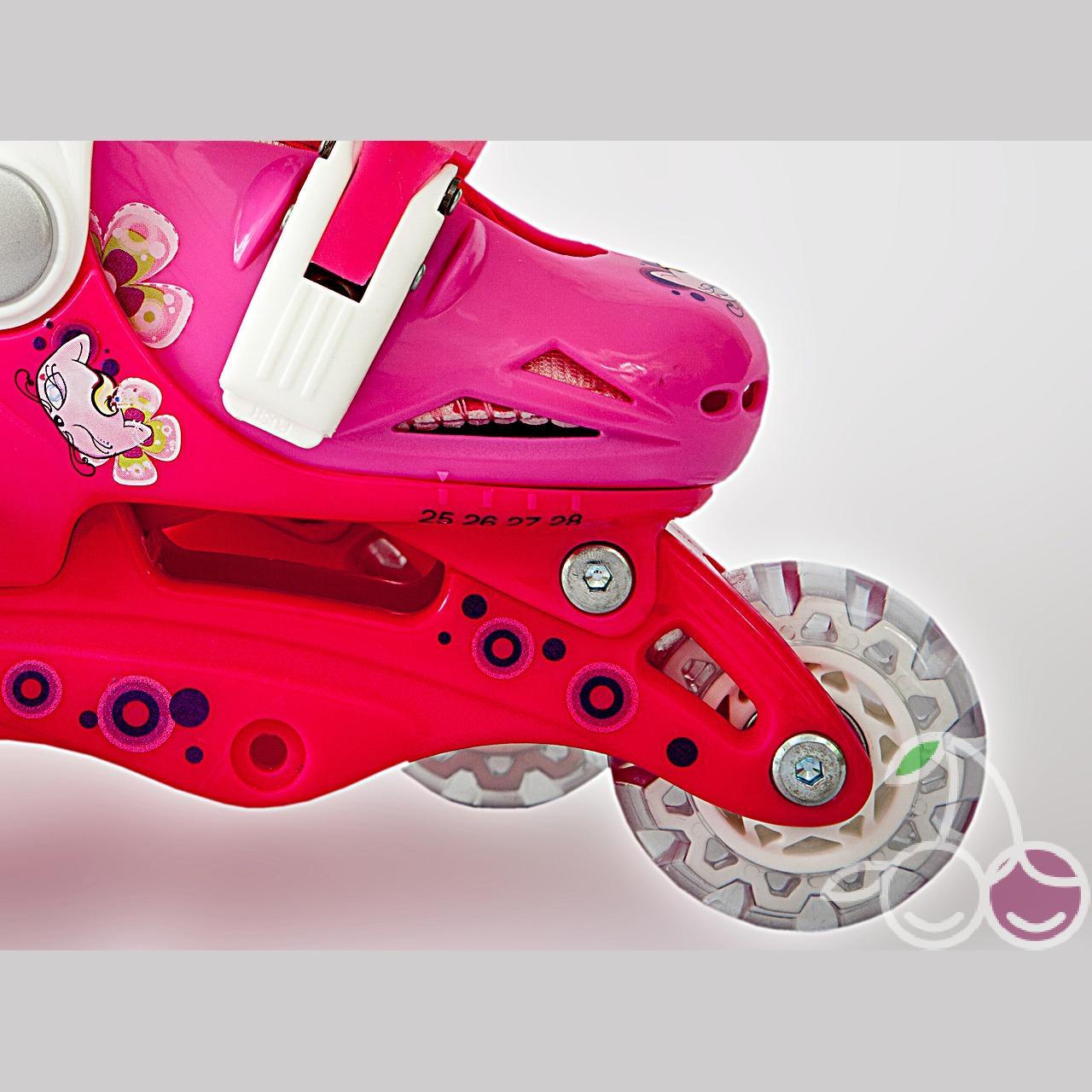 Роликовые коньки детские 26 размер, для обучения (трансформеры, раздвижной ботинок) MagicWheels розовые, - фото 6